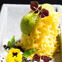Dhokla or lentil flour cakes with curry leaves, mustard, chutney and coconut ice cream